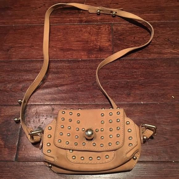 Sonia Rykiel Handbags - Sonia Rykiel Camel Leather Studded Cross Body Bag